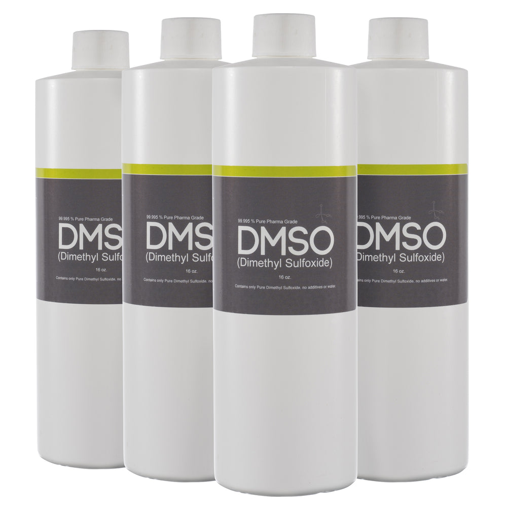 DMSO Dimethyl Sulfoxide 4 Bottles of 16 oz. Low Odor 99.995% Pure Pharma Grade, BPA FREE