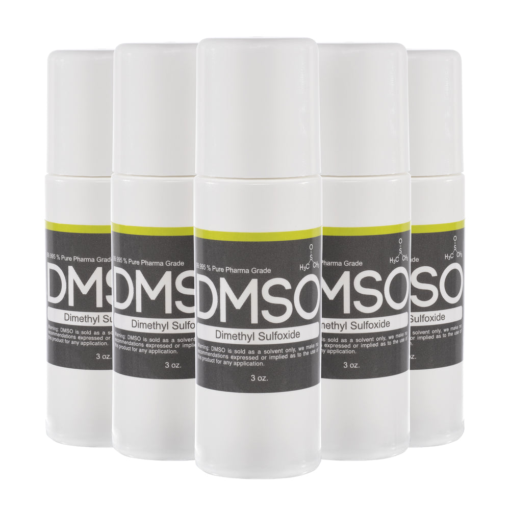 DMSO Dimethyl Sulfoxide 5 Bottle Special, 99.995% Pharma Grade Odor Free 3 oz. Roll-on