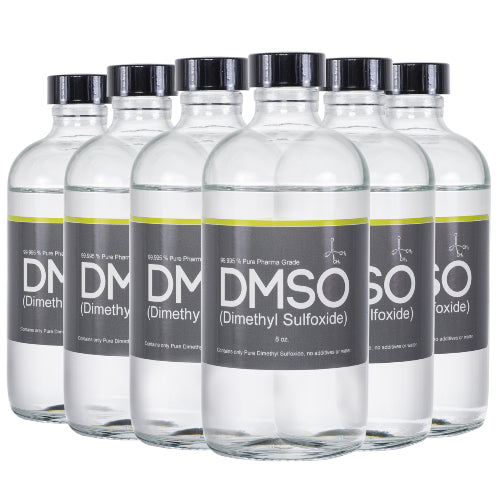 DMSO Dimethyl Sulfoxide Odorless 6 Glass 8 oz. Bottle Special 99.995% Pharma Grade