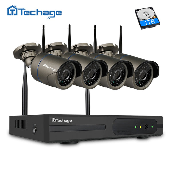 4CH 720P Wireless NVR System with 4 Security Cameras