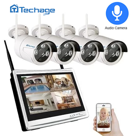 "2 in 1 4CH 1080P 12"" LCD Wireless NVR + 4 Cameras"
