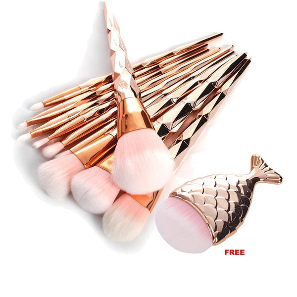 Unicorn Horn 10 Piece Face Brush Set