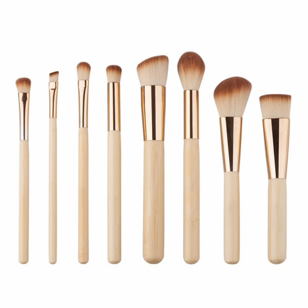 Wooden 8 Piece Face Brush Set