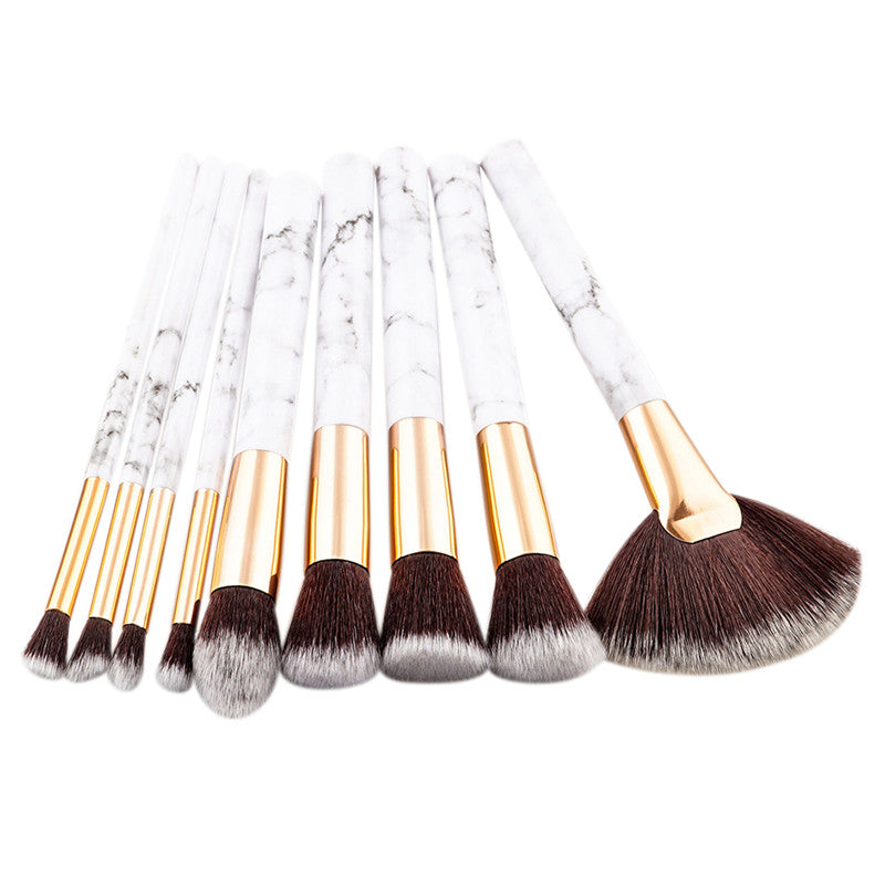 Marble 9 Piece Face Brush Set