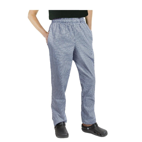 Chef Works Essential Baggy Pants Small Blue Check M - A025-M