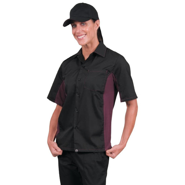 Chef Works Unisex Contrast Shirt Black and Merlot XS - A950-XS