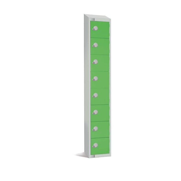 Elite Eight Door Coin Return Locker with Sloping Top Green - CE104-CNS