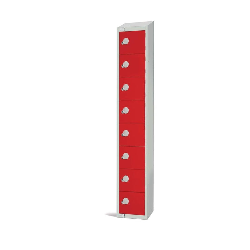 Elite Eight Door Padlock Locker with Sloping Top Red - CE108-PS