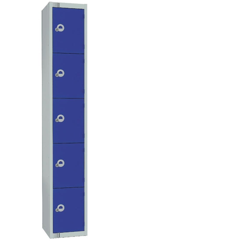 Elite Five Door Coin Return Locker with Sloping Top Blue - CG612-CNS