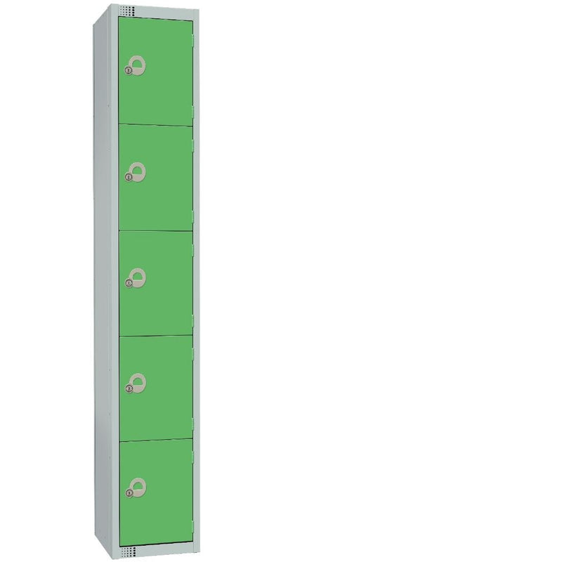 Elite Five Door Manual Combination Locker Locker Green with Sloping Top - CG614-CLS