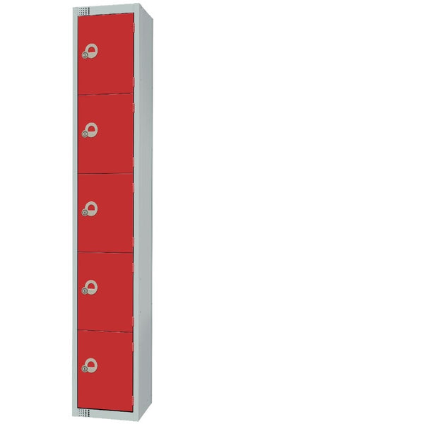 Elite Five Door Camlock Locker with Sloping Top Red - CG618-CS