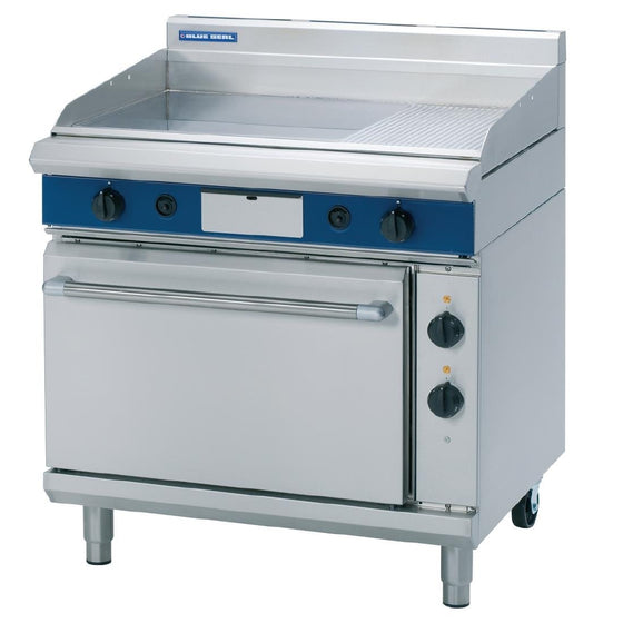 Blue Seal Evolution Nat Gas 1/3 Ribbed Chrome Griddle Electric Static Oven Nat Gas GPE506/N - GK543-N