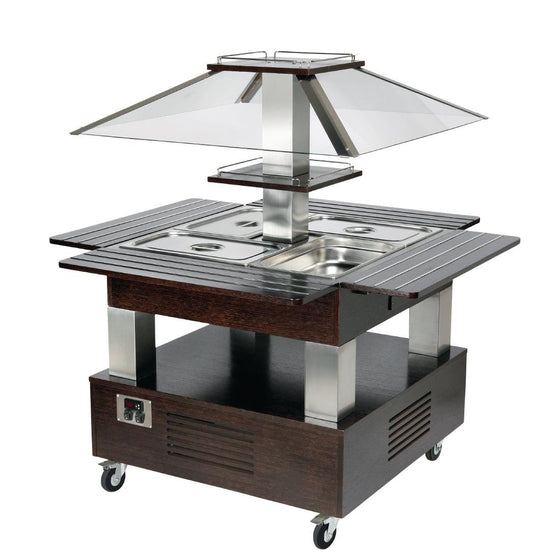 Roller Grill Heated Salad Bar Square Dark Wood - GP307