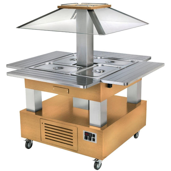 Roller Grill Heated Salad Bar Square Light Wood - GP308
