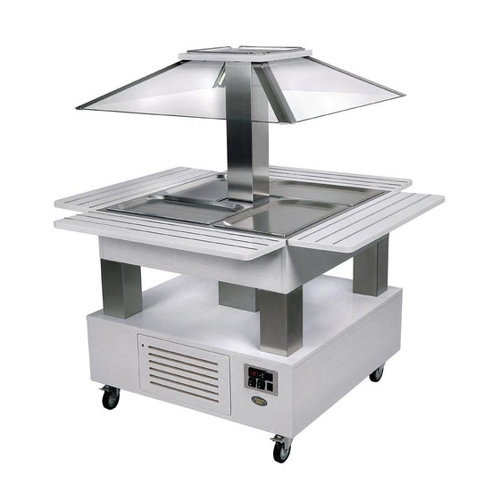 Roller Grill Heated Salad Bar Square White Wood - GP309