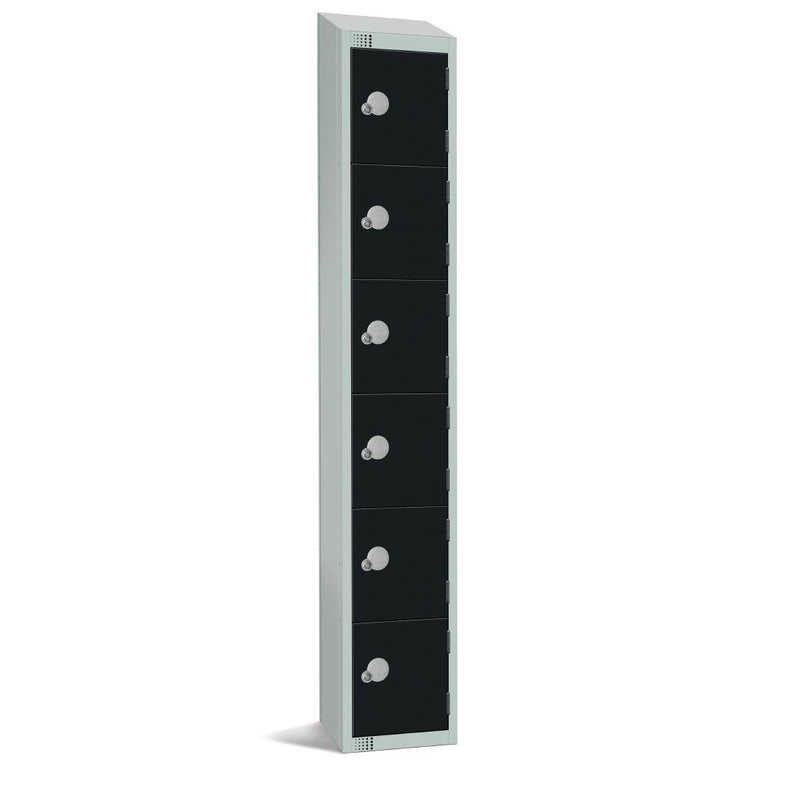 Elite Six Door Coin Return Locker with Sloping Top Black - GR675-CNS