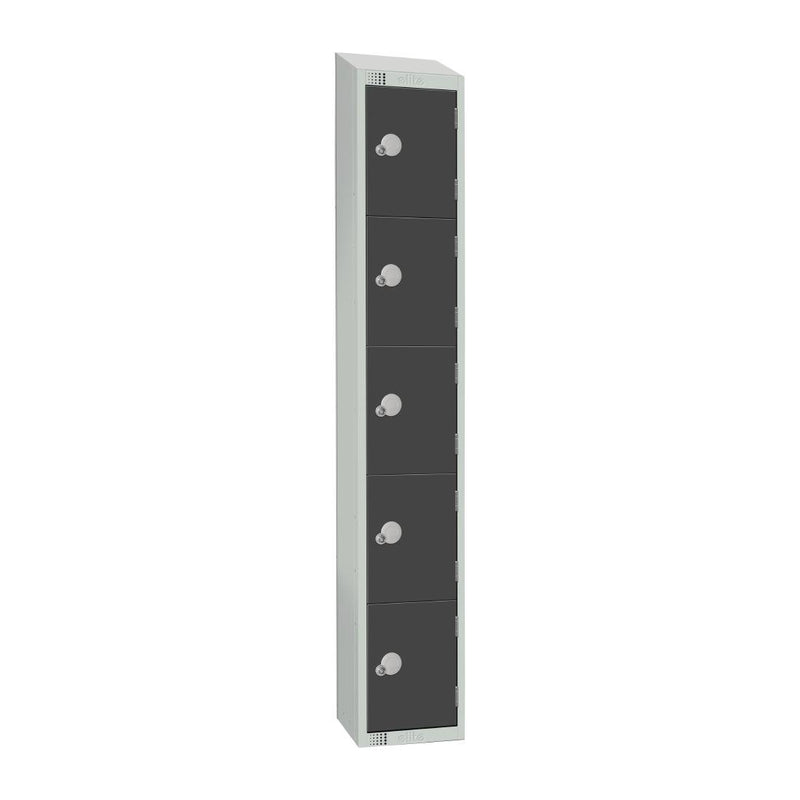 Elite Five Door Coin Return Locker with Sloping Top Graphite Grey - GR681-CNS