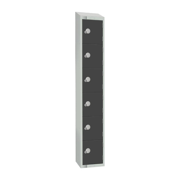 Elite Six Door Electronic Combination Locker with Sloping Top Graphite Grey - GR682-ELS