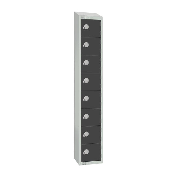 Elite Eight Door Camlock Locker with Sloping Top Graphite Grey - GR683-CS