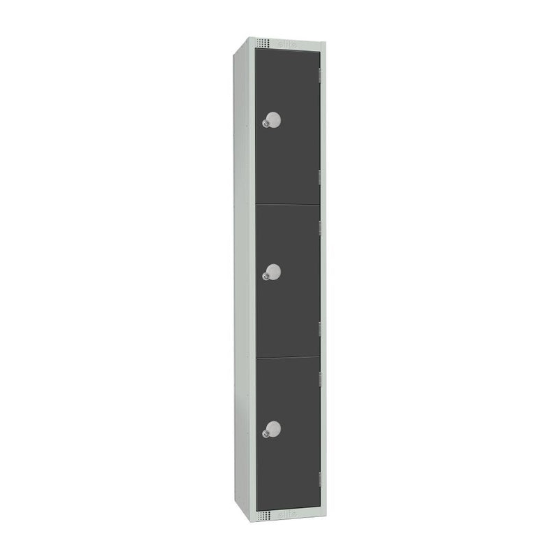Elite Three Door Camlock Locker Graphite Grey - GR693-C