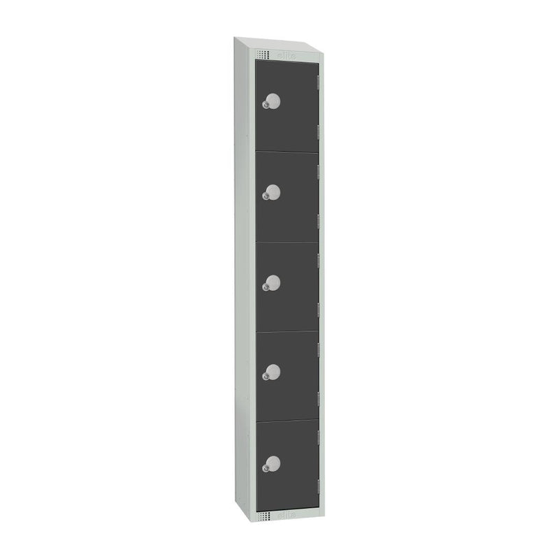 Elite Five Door Coin Return Locker with Sloping Top Graphite Grey - GR695-CNS