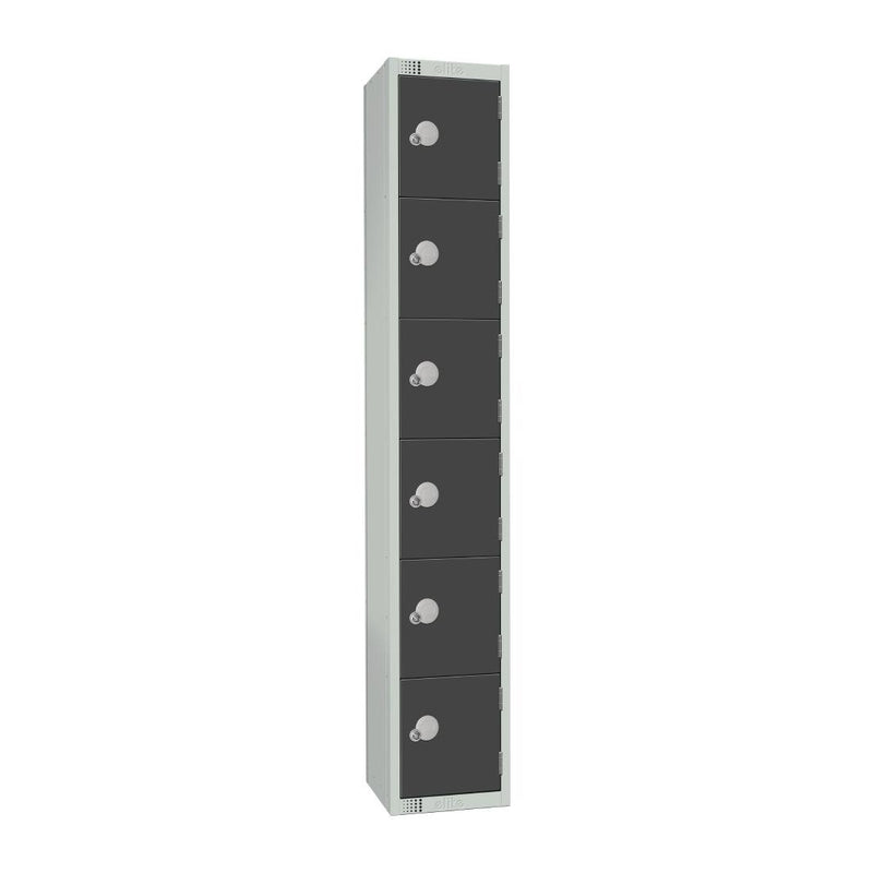 Elite Six Door Camlock Locker Graphite Grey - GR696-C