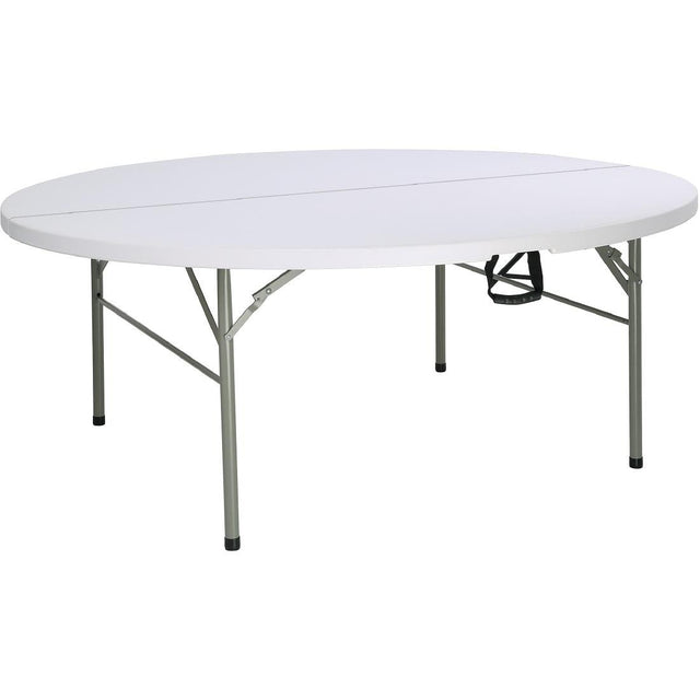 Bolero Round PE Centre Folding Table White 6ft (Single) - HC270