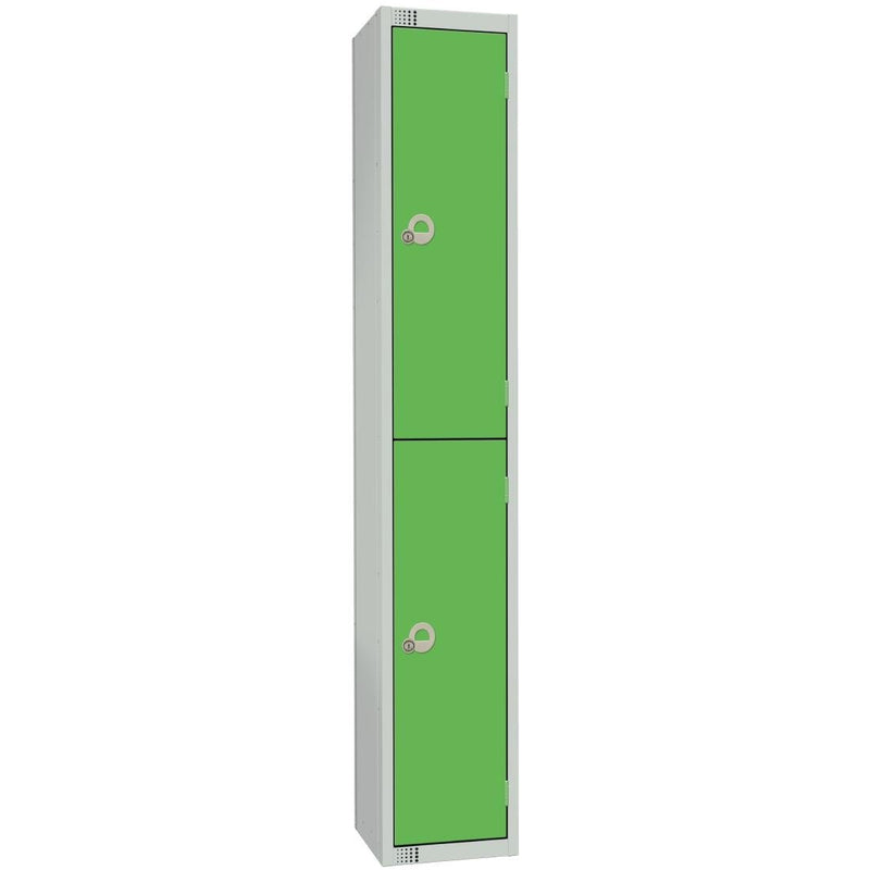 Elite Double Door Electronic Combination Locker with Sloping Top Green - W955-ELS