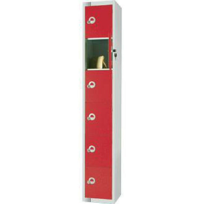 Elite Six Door Padlock Locker with Sloping Top Red - W983-PS