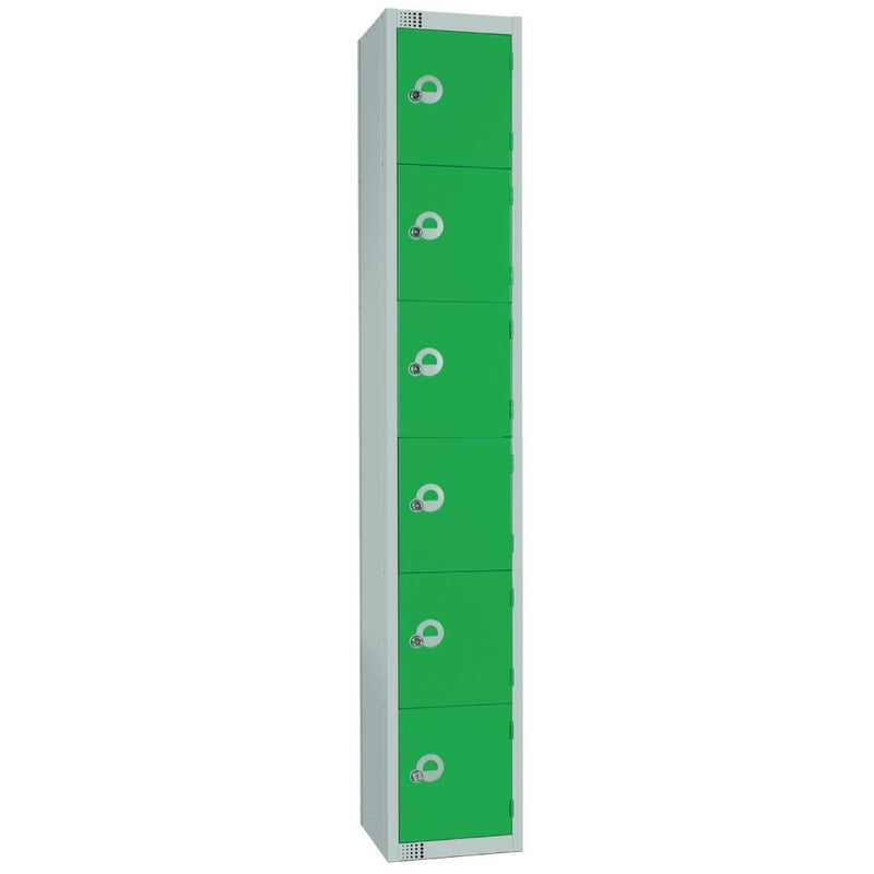 Elite Six Door Manual Combination Locker Locker Green - W988-CL