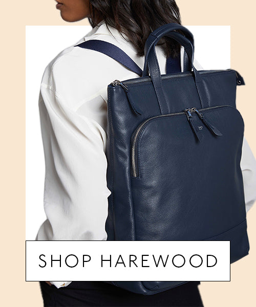 Model Wearing Leather Laptop Totepack - Shop Harewood