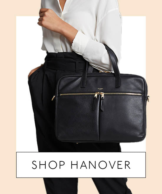 Model Wearing Leather Laptop Briefcase - Shop Hanover