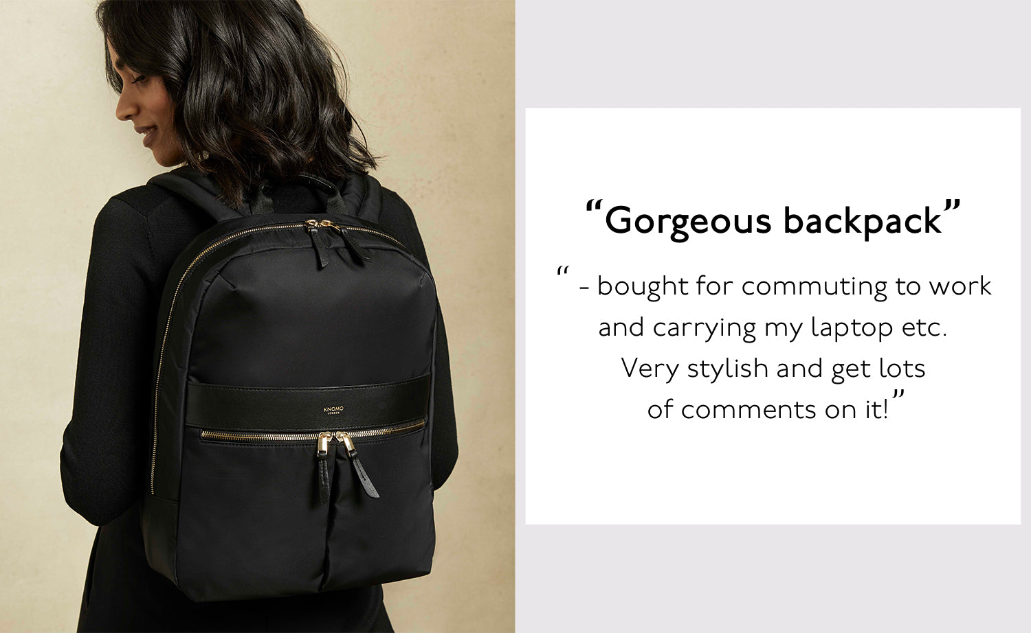 "KNOMO London Beauchamp 14"" Black Women's Laptop Backpack Model Wearing Backpack"