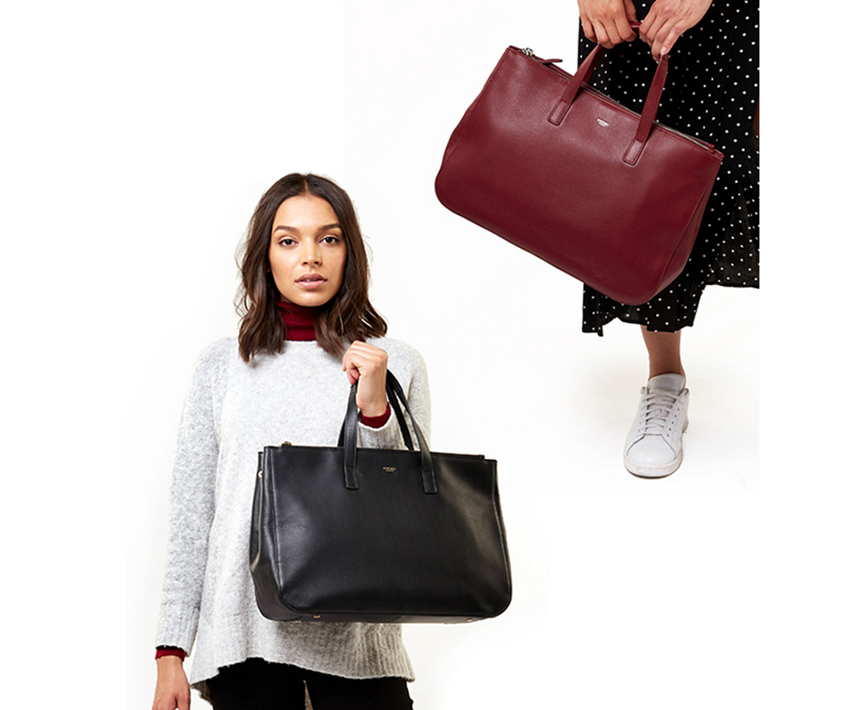 Womens totes, Black or Burgundy leather
