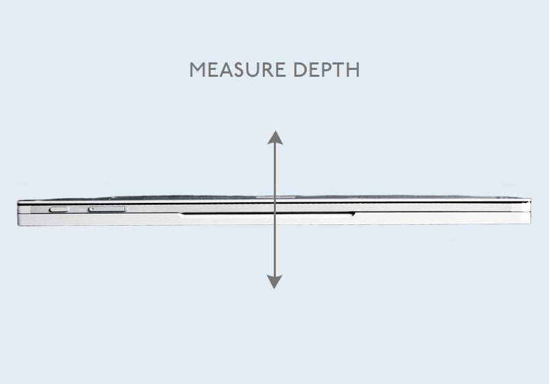 Measure the laptop edge vertically for the depth