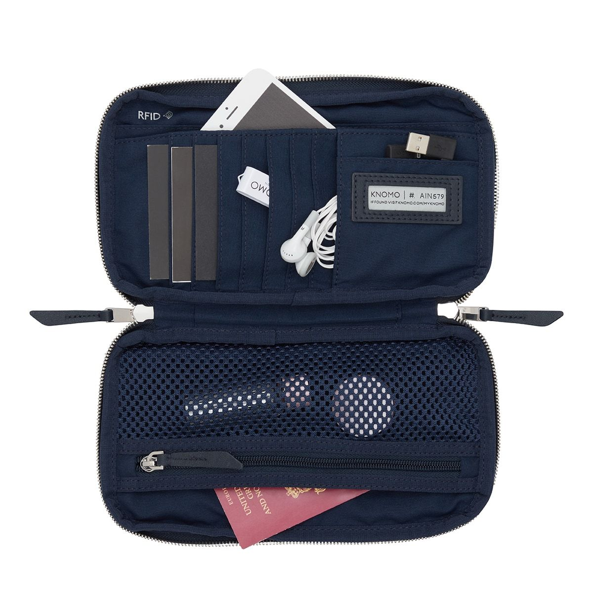 "KNOMO Knomad Travel Wallet Travel Organiser Internal With Items 8"" -  Dark Navy Blazer 