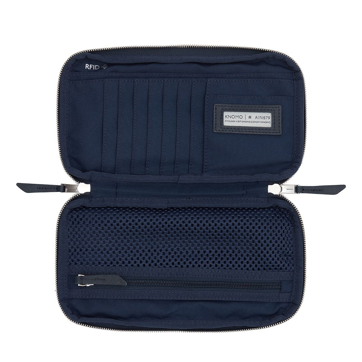 "KNOMO Knomad Travel Wallet Travel Organiser Internal View Empty 8"" -  Dark Navy Blazer 