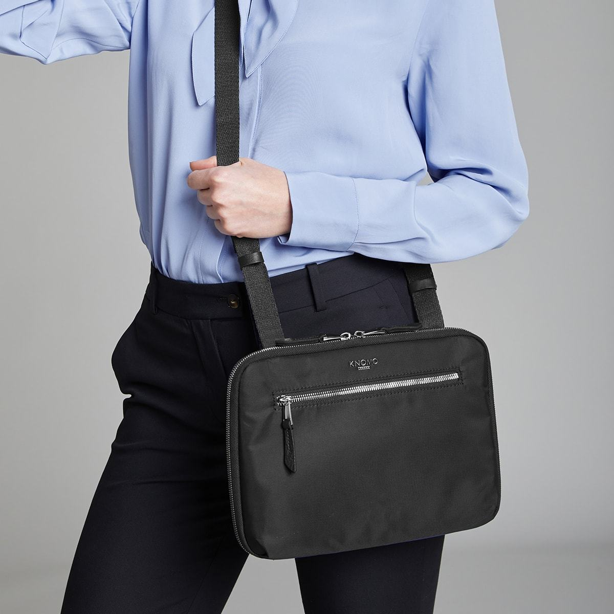 "KNOMO Knomad X-Body Organiser Tech Organiser Female Model Wearing Over Shoulder 10.5"" -  Black 