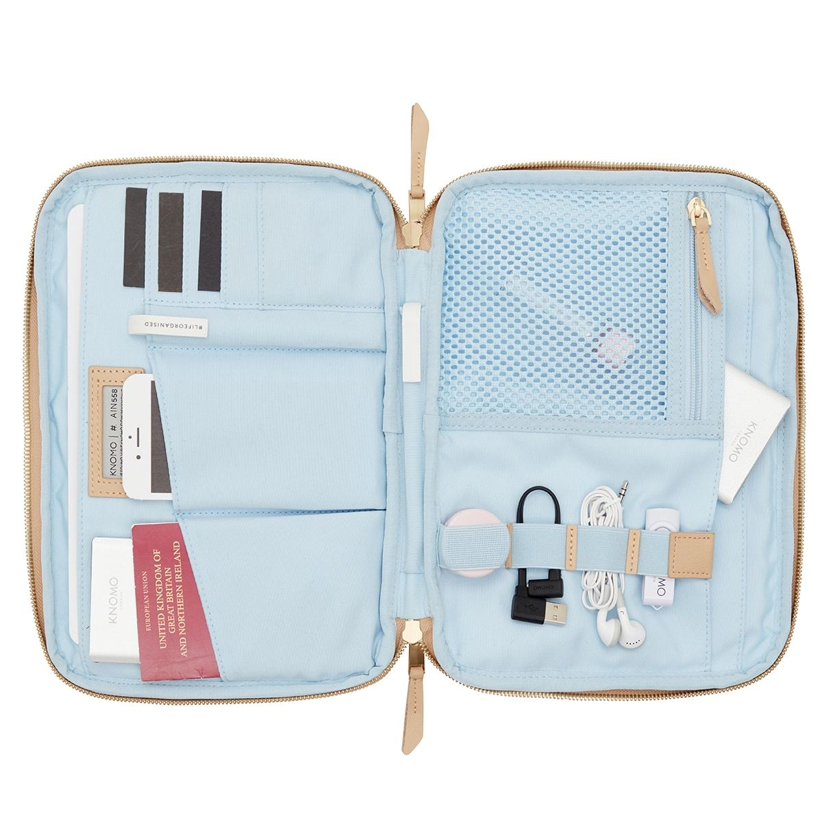 "KNOMO Knomad X-Body Organiser Tech Organiser Internal With Items 10.5"" -  Trench Beige 