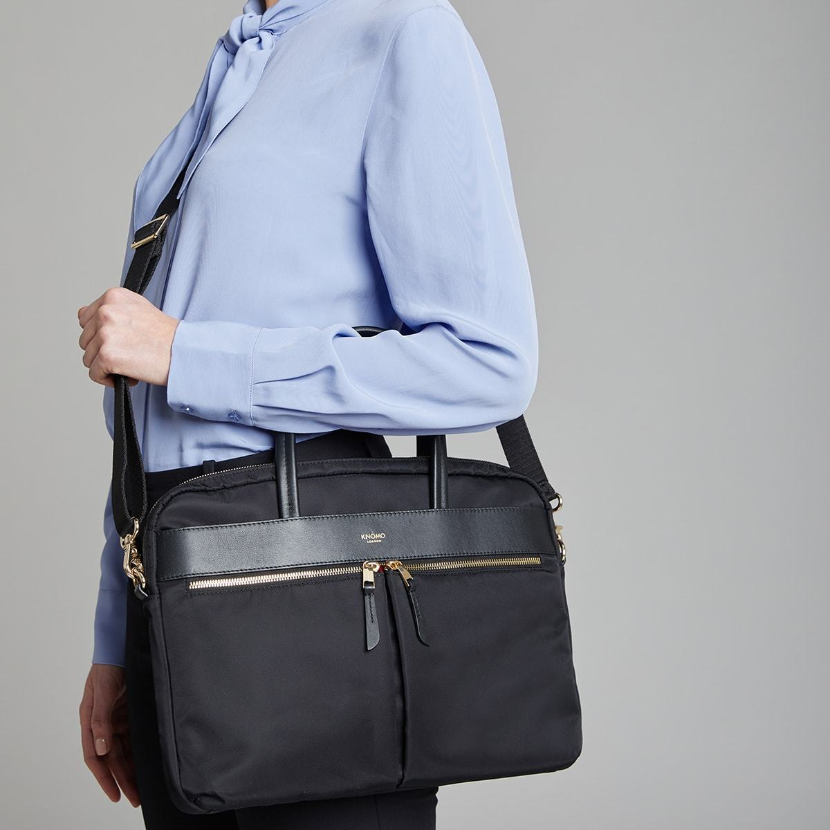 "KNOMO Hanover Laptop Briefcase Female Model Wearing Over Shoulder 14"" -  Black 