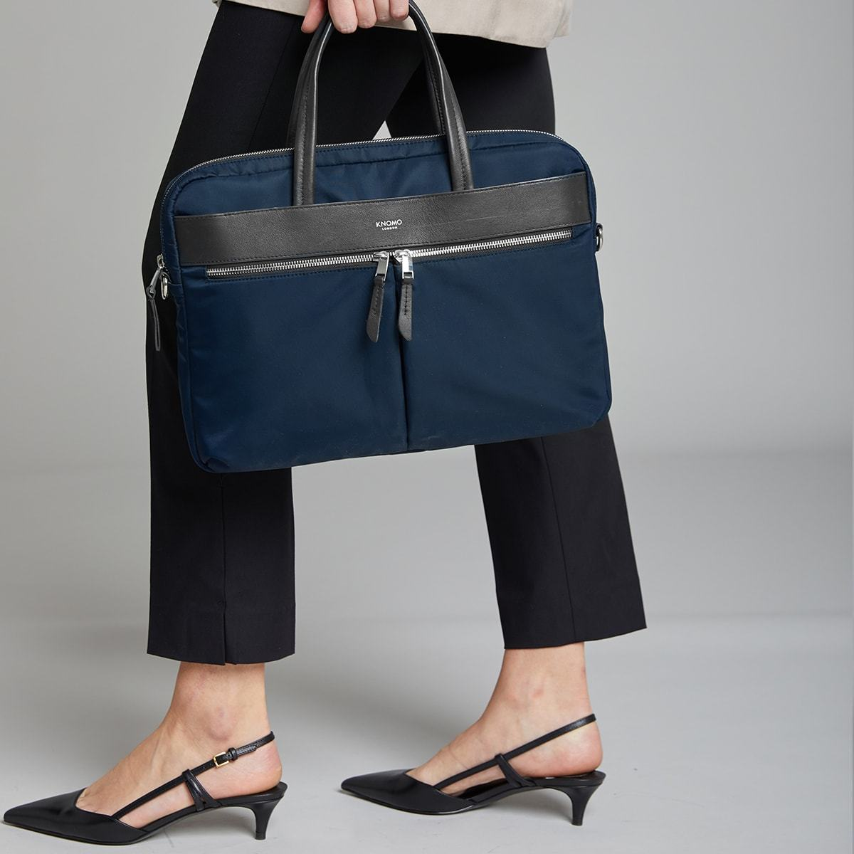 "KNOMO Hanover Laptop Briefcase Female Model Holding Straps 14"" -  Dark Navy Blazer 