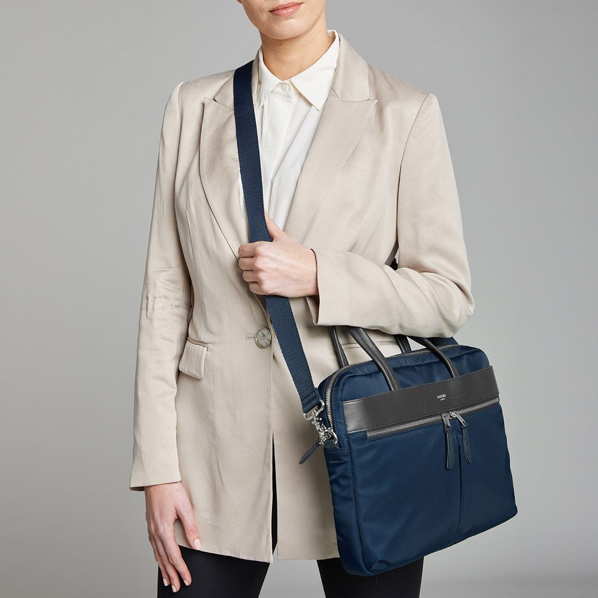 "KNOMO Hanover Laptop Briefcase Female Model Wearing 14"" -  Dark Navy Blazer 