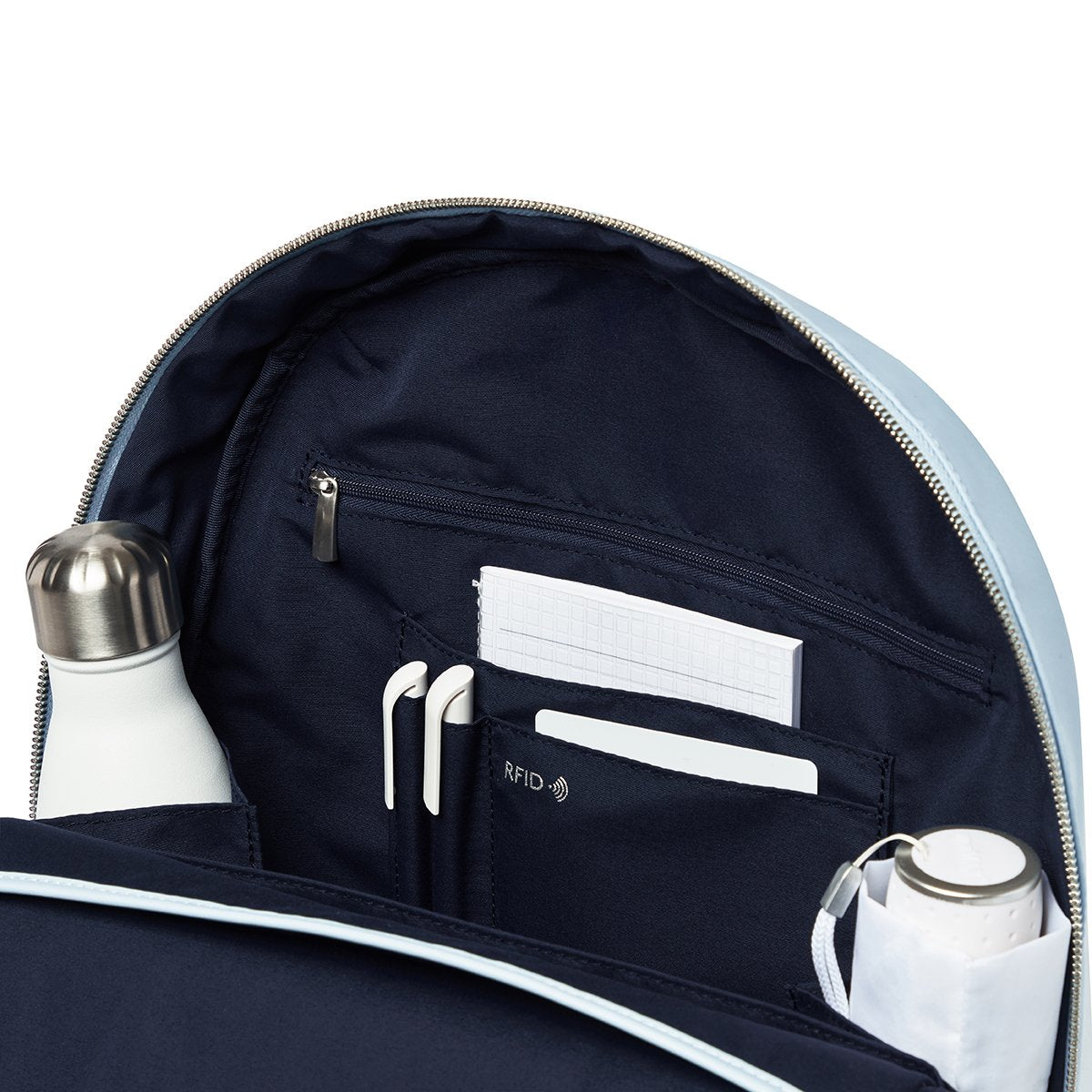 "KNOMO Beauchamp Laptop Backpack Internal Close Up 14"" -  Poplin Blue 