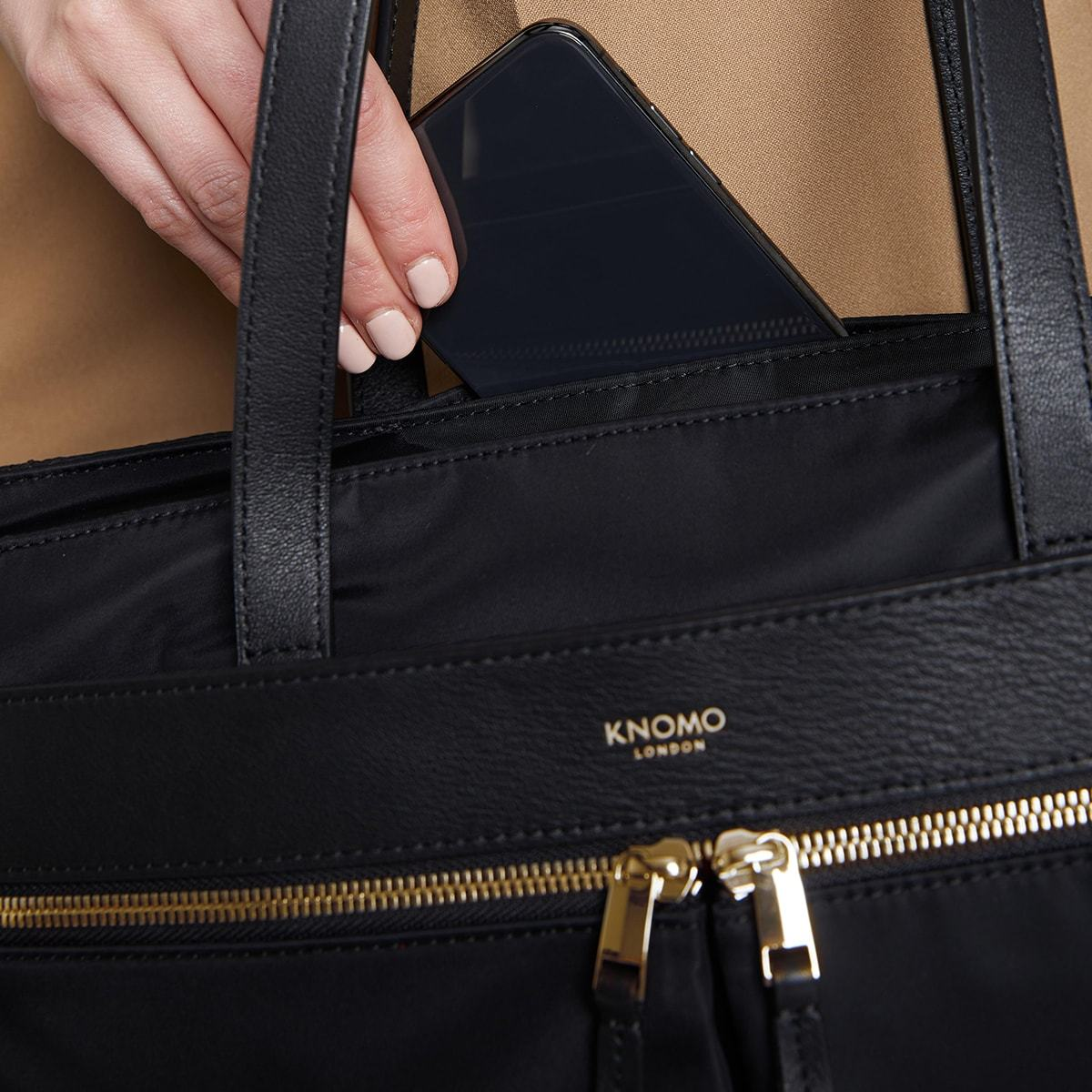"KNOMO Grosvenor Place Tote Pocket Close Up 14"" -  Black 