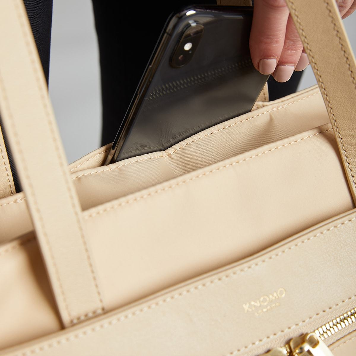 "KNOMO Grosvenor Place Tote Pocket Close Up 14"" -  Trench Beige 