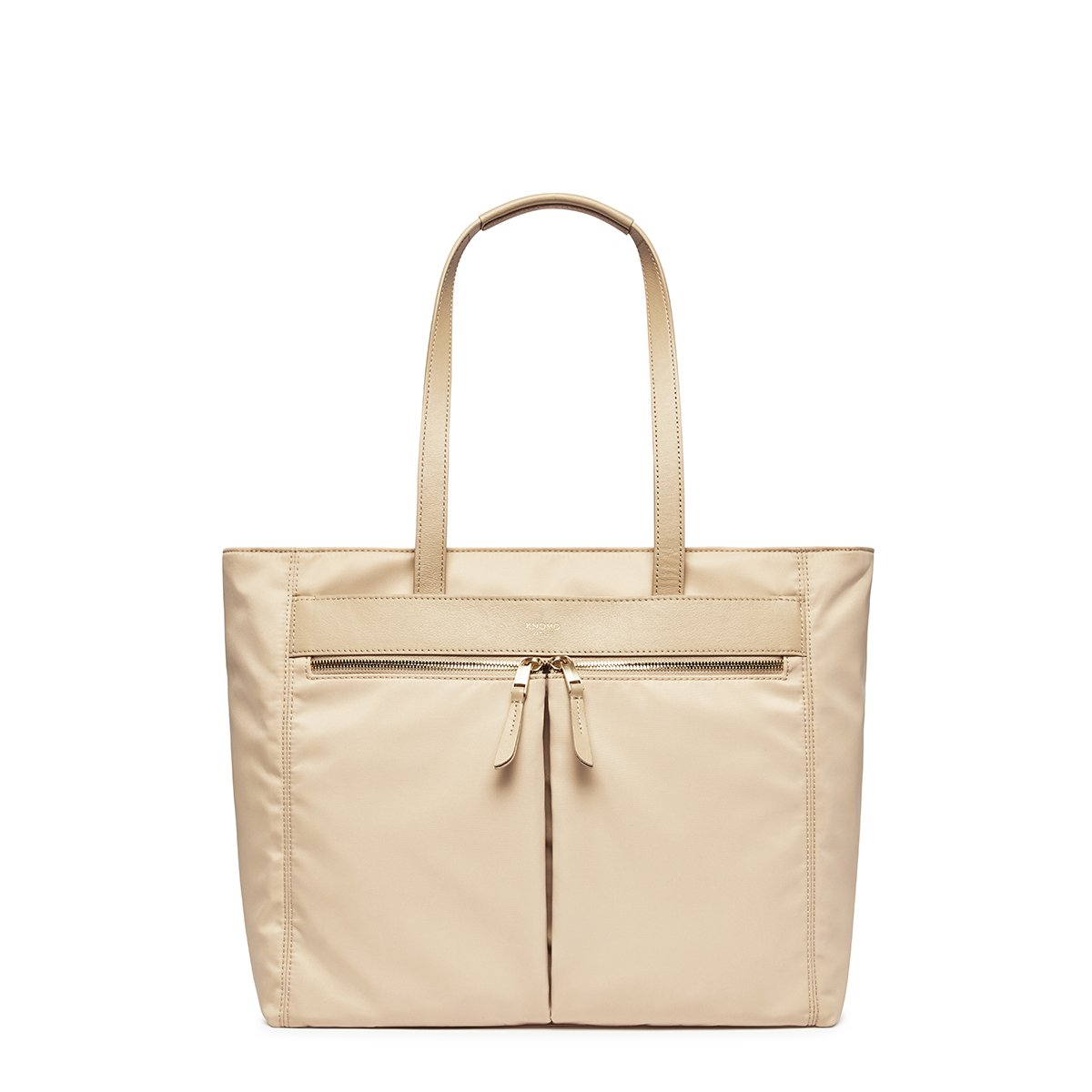 "KNOMO Grosvenor Place Tote From Front 14"" -  Trench Beige 