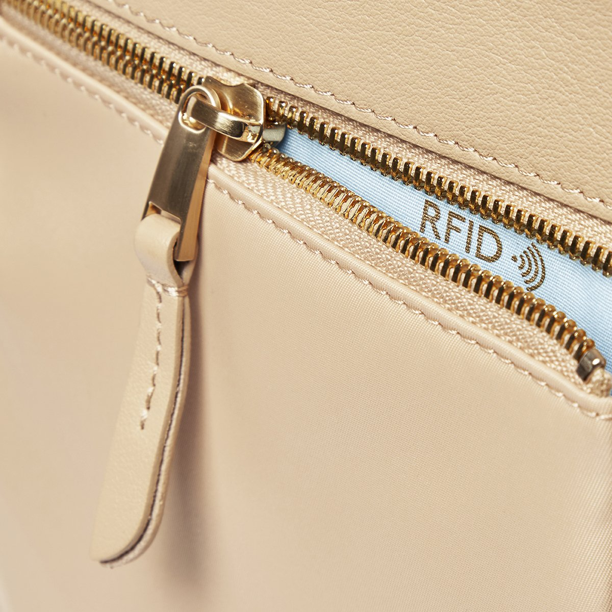 "KNOMO Grosvenor Place Tote Zip Detail Close Up 14"" -  Trench Beige 