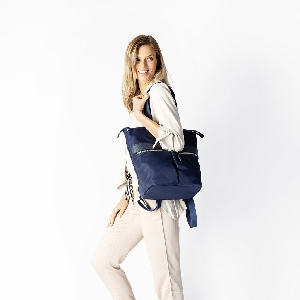 "Gilbert Womens 14"" Laptop Tote Backpack - Dark Navy – KNOMO"