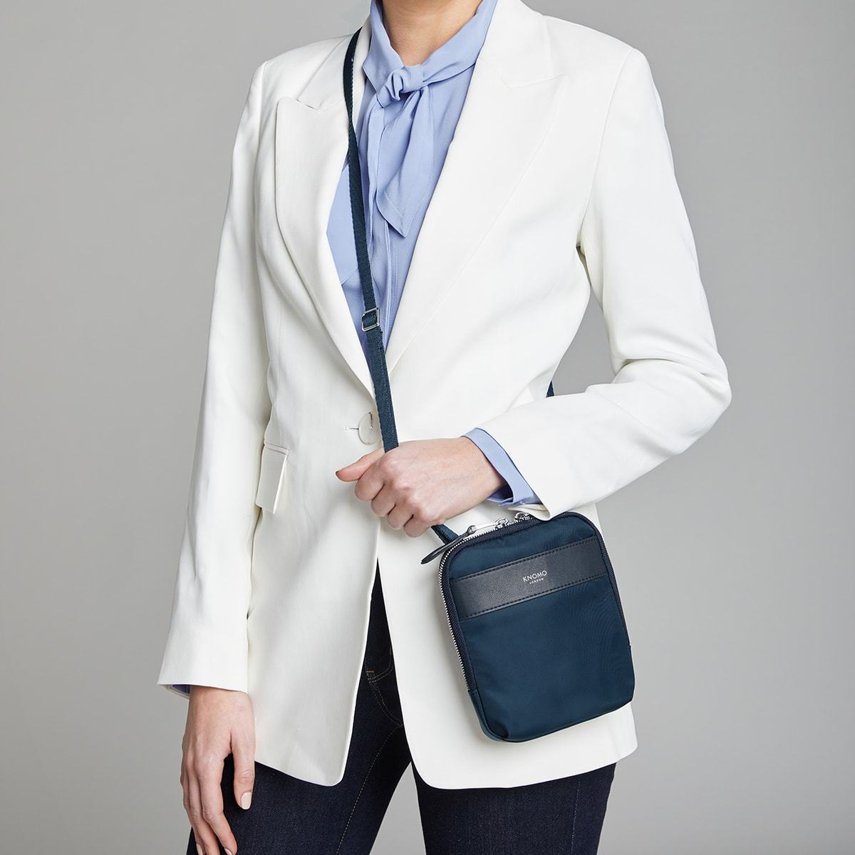 "KNOMO Rex Mini Cross-Body Female Model Wearing 6"" -  Dark Navy Blazer 
