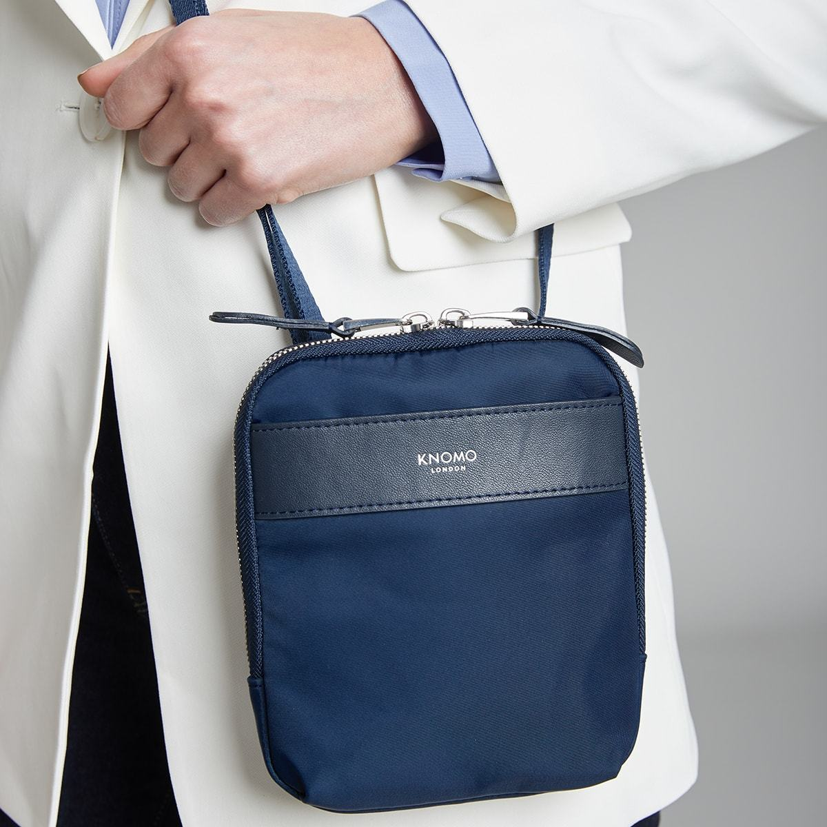 "KNOMO Rex Mini Cross-Body Female Model Close Up 6"" -  Dark Navy Blazer 